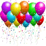 Clipart Illustration of a Bunch Of Floating Party BalloonsWith